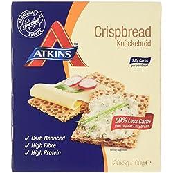 Atkins Crispbread weniger Kohlenhydrate | For versatile snacks and lunches | 20 x 5 Gramm. 0.2 gramm Zucker, 0.6 gramm Ballaststoffe, 1.3 gramm Eiweiß