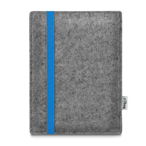 stilbag e-Reader Tasche Leon für Amazon Kindle Oasis (9. Generation), Wollfilz Hellgrau - Gummiband blau