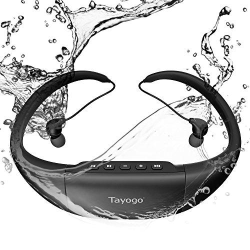 Tayogo Wasserdicht Schwimmen Sport Kopfhörer ¨ C Hifi-Stereo-Sound mit Active Noise Cancellation ¨ C 8GB Speicher für Musik, Podcasts, Hörbücher ¨ C FM-Radio und MP3-Player, schwarz