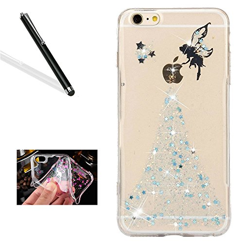 """Price comparison product image Crystal Clear Case for iPhone 6S Plus, Glitter Silicone Case for iPhone 6 Plus, Leeook Luxury Bling Glitter Star Shiny Fairy Girl Pattern Slim Fit Soft Gel Transparent Flexible Tpu Bumper Gel Skin for iPhone 6 Plus / 6S Plus 5.5"""" + 1 x Free Black Stylus-Star, Blue"""