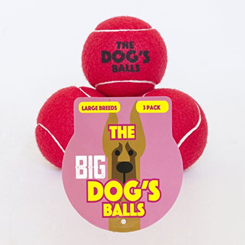 The Big Dog's Balls, 3 Large Red Tennis Balls, Premium, Strong Dog Toy Ball for Dog Fetch & Play. Large Dogs Balls, Too Big for Chuckit Launchers, the King Kong of Dog Balls