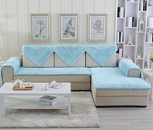 YEARLY Hochwertiger Chenille Sofa pad Stoff nach maß europäischen einfache Moderne Anti-rutsch Vier Jahreszeiten Leder Sofa plüsch Kissen Winter-taobao-Himmelblau 60x150cm(24x59inch) -