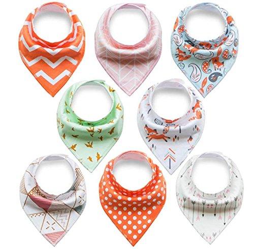 Baby Dreieckstuch Lätzchen 8er Pack Halstücher Spucktücher Tücher Lätzchen mit Druckknöpfen für Baby Jungen und Mädchen Kleinkinder Saugfähig Weich Größenverstellbar