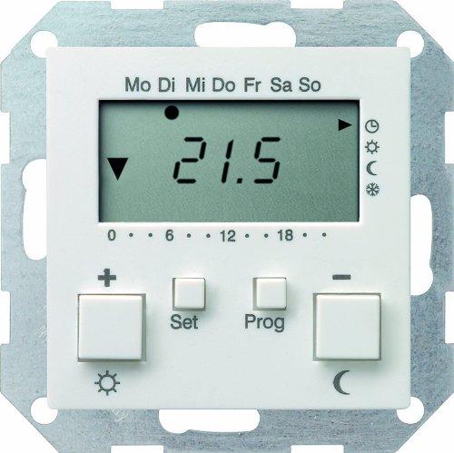 Gira 237003 Raumtemperatur-Regler 230 V mit Uhr System 55, reinweiß