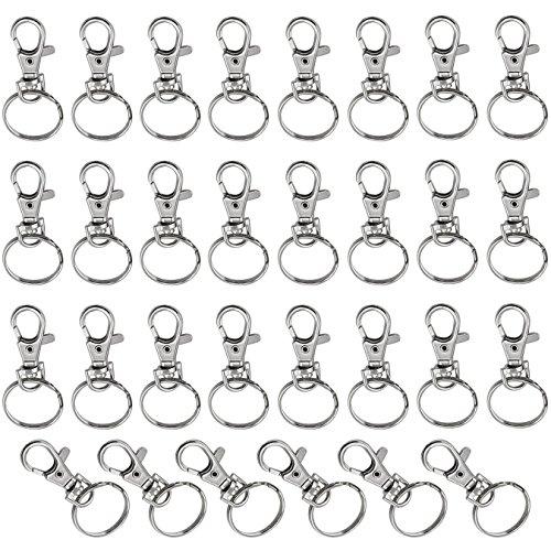 aufodara 30Stk. Metall Schlüsselring Schlüsselanhänger Schlüsselanhänger Schwenker Hummer Haken Abnehmbarer (30Stk.)