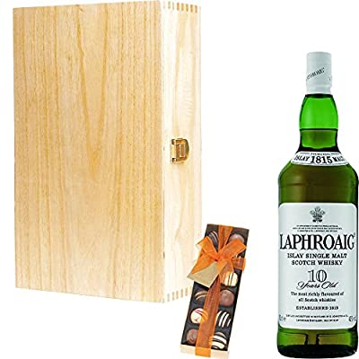 Laphroaig 10 Year Old Single Malt Scotch Whisky 35cl Half Bottle Corporate Gift Set With Handcrafted Gifts2Drink Tag
