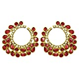 Peora Red Crescent Chandbali Earrings Fo...