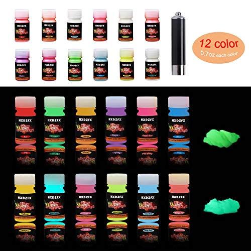 HXDZFX Epoxidharz Leuchtpulver, Fluoreszierendes Pulver, Epoxid Harz Pigment, Selbstleuchtend Nachtleuchtend Neon Pulver Farbpulver (12 Flaschen, 0,7 oz pro Flasche + UV-Lampe)