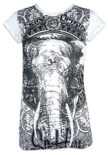 Sure Damen T-Shirt Ganesha OM Symbol Elefanten-Gott Indien Hinduismus Religion Goa (Weiß S)