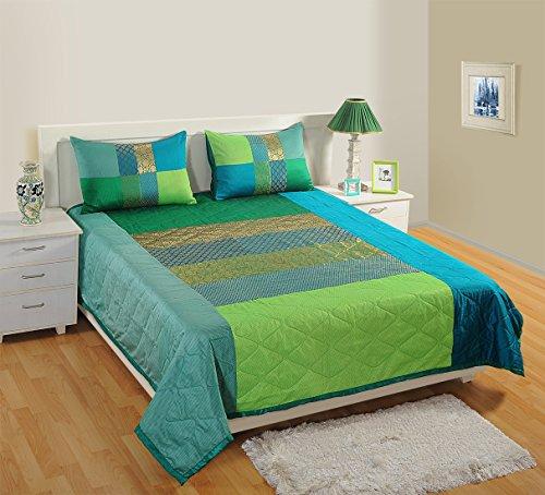 1Gesteppte Tagesdecke mit 2Kissenbezügen für Doppelbett, Kunstseide und Brokat Woven, Multi Farbe (Tagesdecke Ausgestattet)