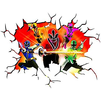 Power Rangers Wall Crack Self Adhesive Wall Art Size 1000mm Wide X 600mm  Deep (large) Part 82