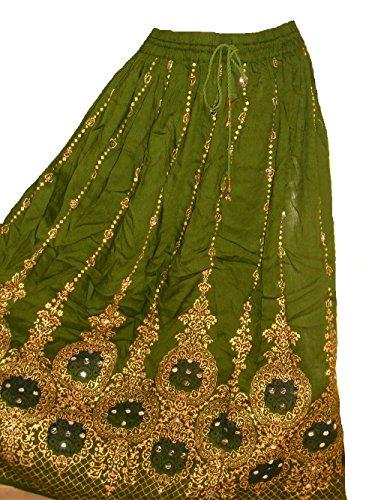 Kostüm Boho Gypsy (Dancers World Schöner Damenrock, im Boho-Stil, indisch, Hippie, lang, mit Pailletten, für Bauchtanz geeignet, Heena Green with Black)