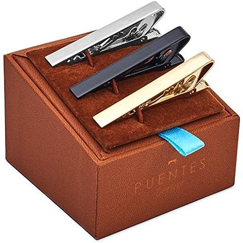 Set de 3 Pc Pasador de Corbatas 5.4 cm Pisacorbatas, Tono Plateado, Dorado y Negro en Caja de Regalo