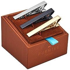 Idea Regalo - Set di 3 Fermacravatta Uomo Colore Argento, Nero, Oro 5.4CM + Pacco Regalo