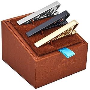 3-er Packung Krawattenklammer / Krawattennadel 5.4 cm Silber, Goldfarben, Schwarz Für Krawatte im Geschenketui, Geschenkset