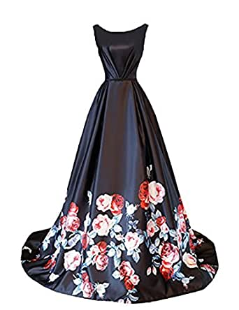 Stillluxury Floor Length Long Printed Wedding Party Evening Gowns Womens Prom Dresses Black Size 6
