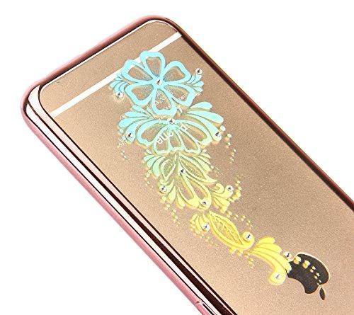 iPhone 6/6S plus 5.5 Custodia,Ukayfe Premium Transparent Dipinto Chiaro Case Cover Bumper Copertina Morbido in Silicone Gel e TPU pelle,Trasparente Ultrasottile 3D Fashion Fiore Paesaggio Case Vernici rosa fiore 1#