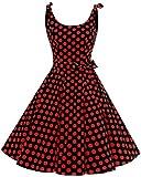 Bbonlinedress Vintage Rétro 1950's Audrey Hepburn Robe de Soirée Cocktail Année 50 Rockabilly,Noir-Rouge L