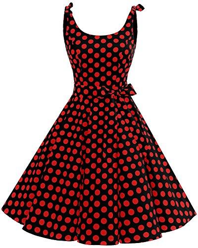 bbonlinedress 1950er Vintage Polka Dots Pinup Retro Rockabilly Kleid Cocktailkleider Black Red Big Dot S
