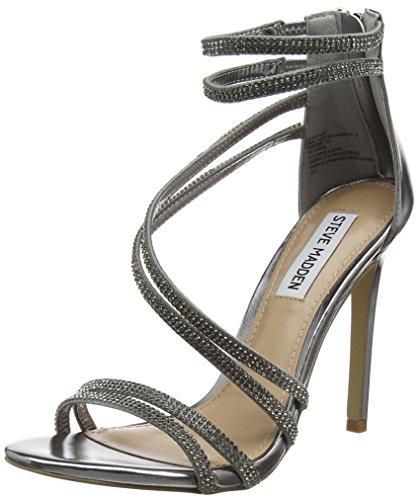 Steve Madden Footwear Damen Sweetest Sandal Knöchelriemchen, Silber (Pewter), 40 EU (Sparkle Sandalen Damen)