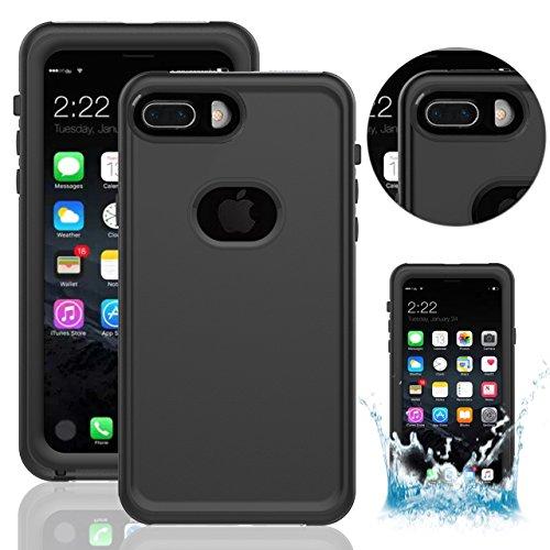 iPhone 8 Plus Wasserdichte Hülle, iPhone 7 Plus Wasserdichte Hülle,Vandot IPX8 Wasserdichte Schutzhülle für iPhone 8 Plus/7 Plus (5,5 Zoll),Staubdicht Schneedicht Stoßfest Handyhülle, Ultradünnes Gehä Schwarz