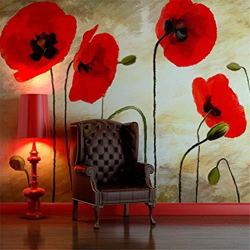 WEMUR Deutschland importierte Garten-Tapeten-Hintergrund-Wand-rote Tinten-Mohnblumen, 250X175 CM (98.4 By 68.9 In) - Importierte Bettwäsche