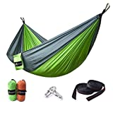 Hamaca de Hukoer, 100 % nailon de paracaídas, carga de alta resistencia de hasta 200 kg, en conjunto con productos de sujeción y mosquetón, para senderismo al aire libre y acampar, verde