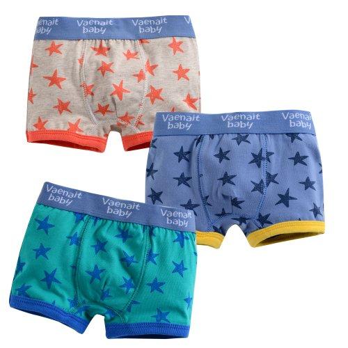 Vaenait Baby Kleinkind Kinder Jungen Unterwäsche 3-Pack Set Boxer Star M