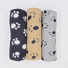 "JZK® 3 x Encantador Invierno Diseño Impresión Mascota Perro Gato Pata Franela Cama Mat de manta, 100 cm x 70 cm (40 ""x 28""), (Beige, gris, negro)"