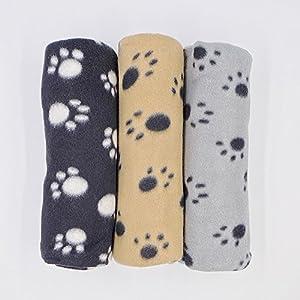 JZK® 3 x Super Softe Warmes Liegedecke Decke Matten Winter Bedrucktes Fleecedecke mit Pfoten Muster für Katze Hund Tier Haustier