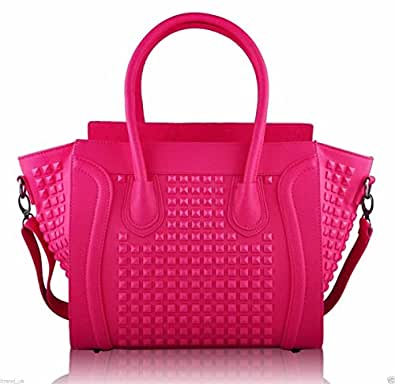 Womens Designer Faux Leather Celebrity Style Studded Smile Tote Handbags Shoulder Bags