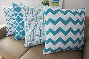 "Howarmer® Canvas Cotton Aqua Blue Decorative Throw Pillows Cover Set of 4 Geometric Pattern Cushion Cover for Couch 18"" X 18"" Blue Trellis Chain,aqua Ogee Accent,teal Arrow,chevron Striped"
