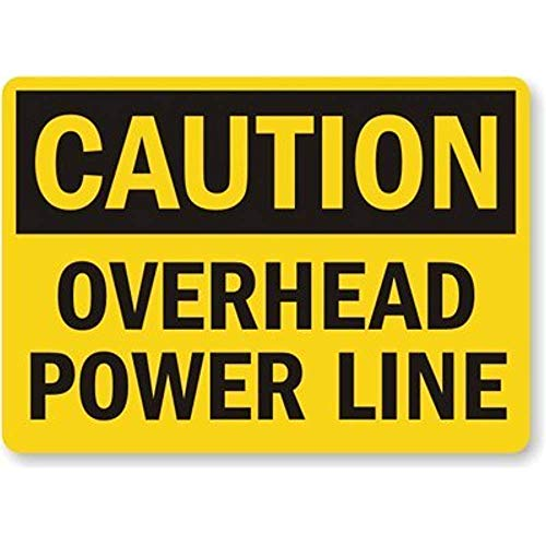 Tin Sign Fashion Caution: Overhead Power Line Wall Plaque for Indoor Outdoor 7.8x11.8 Inch -
