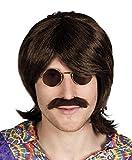 Perruque hippie avec barbe 60 années 1970 coiffure