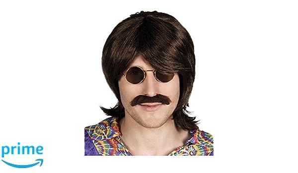 Hippie Perucke Mit Bart 60er 70er Jahre Frisur Amazon De Spielzeug