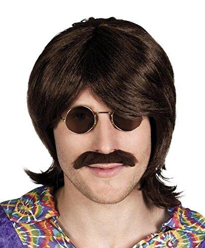 (Hippie Perücke mit Bart 60er 70er Jahre Frisur)