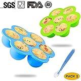 Silikon Babynahrung Behälter,Simicoo 7 Babykost Abteile Behälter für Brust Milch Gemüse Obst Purees Babybrei Mit Deckel 1 Silikon Baby Löffel Aufbewahrung Behälter zum Gefrierbehälter Einfrieren BPA-frei & FDA zugelassen (L, BlueGreen)