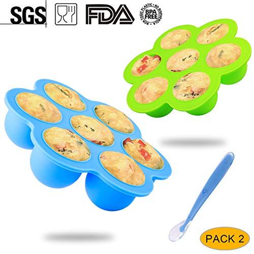 Behälter,Simicoo 7 Babykost Abteile Behälter für Brust Milch Gemüse Obst Purees Babybrei Mit Deckel 1 Silikon Baby Löffel Aufbewahrung Behälter zum Gefrierbehälter Einfrieren BPA-frei & FDA zugelassen (L, BlueGreen) ()