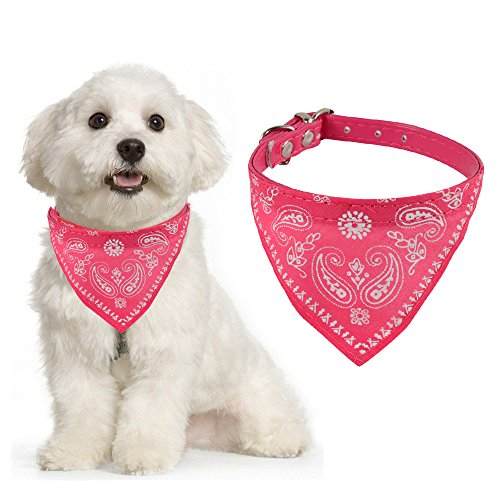Adjustable Scarf Cum Bandana Cum Neckerchief Collar for Puppies / Dog / Cat (Pink)