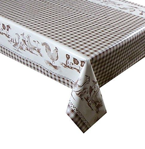 2 metros (200 x 137 cm) mantel de vinilo marrón de cuadros con diseño de animales. 6 plazas de tela se limpia con un paño para limpiar sellos de tamaño PVC mantel de tela impermeable y (78)