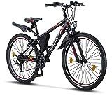 Licorne Bike Guide (Schwarz/Rot/Grau), 26 Zoll Mountainbike, geignet ab 150 cm, Shimano 21 Gang-Schaltung, Gabelfederung, Jungen-Fahrrad & Herren-Fahrrad, Rahmentasche