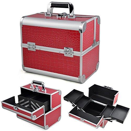 Yahee Kosmetikkoffer Schminkkoffer Beautycase Multikoffer Angelkoffer Aluminium 31x 20 x 28cm (Rosa Crocodile)