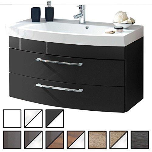 Waschtisch Belum Anthrazit (Waschbecken mit Waschbeckenunterschrank) Breite ca. 100 cm, für Gäste-WC, Form recht-eckig, hängend, Front leicht geschwungen, 2 Schubladen breit, hochglanz