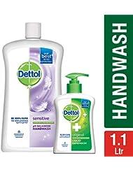 Dettol Liquid Hand Wash Jar Sensitive 900 ml with Free Dettol Handwash 200 ml (Any Variant)