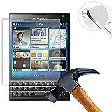 Lusee 2 X Pack Protector de Pantalla Cristal Templado para Blackberry Passport Q30 9H Dureza (Sólo Cubra la Parte Plana)