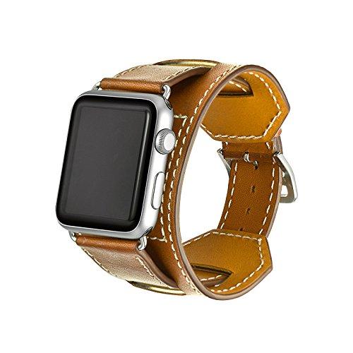Apple Watch Bracelet,Genuine Leather Band SUNDAREE®42mm Apple Watch Bracciale Orologio in Vera Pelle Sostituzione Cinghia di Polso Metallo Fibbia di e Adattatore per Apple Watch Tutti i Modelli(marrone 42mm-polsino)