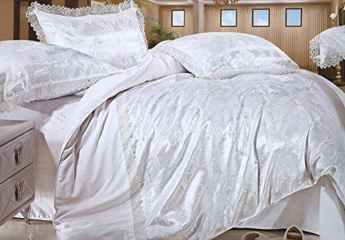 4 - teiliges Luxus Bambus schimmernden Glanz Jacquard Bettwäsche Set 160x200 (Jacquard-bettwäsche-set)