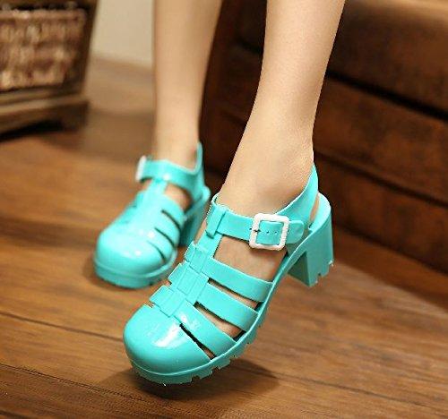 Lgk & fa estate sandali da donna estate sandali tacchi scarpe cristallo trasparente plastica sandali Baotou crude con stivali di plastica, 36 Beige 37 lake blue