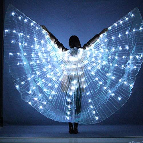WUPYI2018 LED Isis Flügel,360° Isis Wings Weiß Flügel Bauchtanz Kostüme mit Stöcke,für Dance Fairy Bauchtanz Pixie Halloween Weihnachten Cosplay (Tanz Kostüm Mit Lichtern)