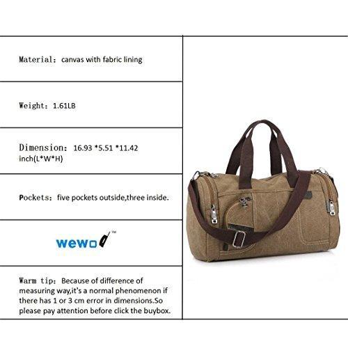 Wewod ad alta capacità da viaggio weekend borsa a tracolla borsa tela resistente materiale stile vintage Medium, Army green (multicolore) - ST1110 Khaki